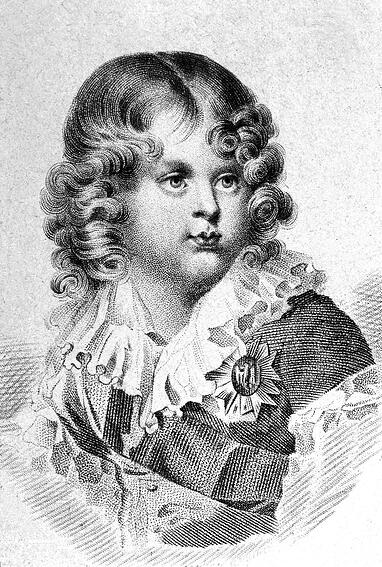 Image of Napoleon II (1811 - 1832), King of Rome, son of emperor Napoleon 1st and empress Marie Louise, Duke of Reichstadt in 1818, here as a child in 1815 in Vienna, engraving © Bridgeman Images