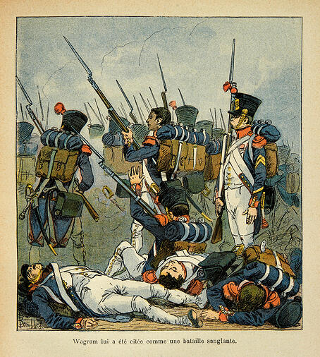 "Image of Illustration by Bombled Louis (1862- 1927) from the book "" The Memorial of Saint Helene"" by Count Emmanuel de Las Cases (1766-1842): Grognards at the Battle of Wagram, Private Collection, Bombled, Louis (1862- 1927) / Private Collection Photo © Photo Josse / Bridgeman Images"