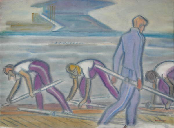 Rowers at the Krylatskoe Olympic Rowing Stadium in Moscow, 1983 (w/c on paper), Mikhail Rojter (1916-93) / Gamborg Collection / Bridgeman Images