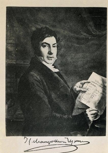 Portrait of the French Egyptologist Jean Francois (Jean-Francois) Champollion (1790-1832). Engraving of the 19th century / © Iberfoto / Bridgeman Images