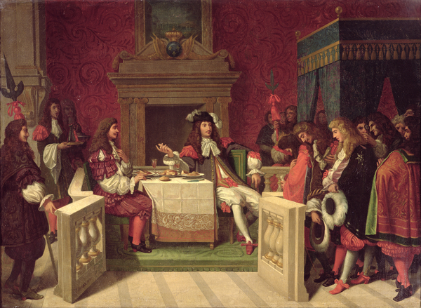 Moliere (1622-73) Dining with Louis XIV (1638-1715) 1857 (oil on canvas) / Bridgeman Images