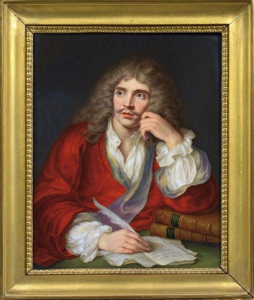 Portrait of the author Moliere (1622-1673) - Gouache on Porcelain by Aimee Perlet / Photo © Fine Art Images / Bridgeman Images