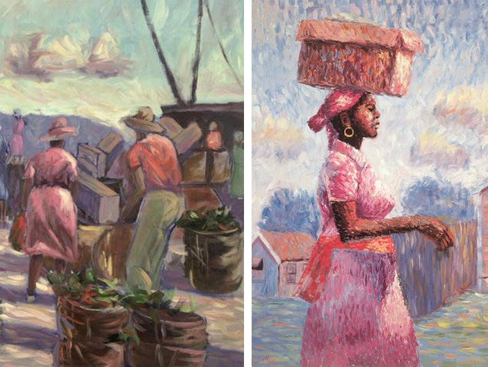 Carlton Murrell: The Marketplace, 1988 (oil on canvas), African Lady, 1988 (oil on canvas)
