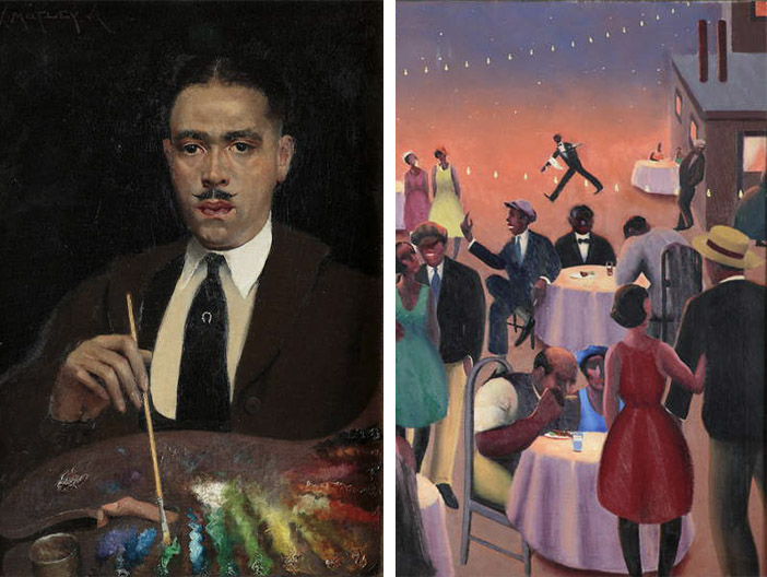 Archibald Motley: Self-Portrait, circa 1920 (oil on canvas), Barbecue (detail), c.1934 (oil on canvas)
