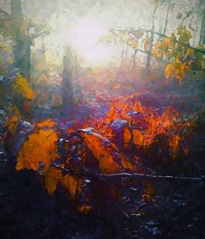 Autumn Forest, 2018, (mixed media)  © Helen White  Bridgeman Images