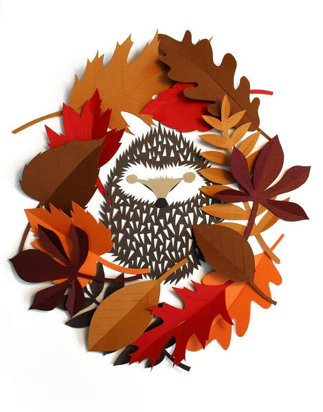 Hedgehog Wreath, 2015 (cut paper), Barber, Isobel  Private Collection  © Isobel Barber  Bridgeman Images