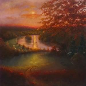 October Glow 2011 (oil on canvas) Landscape  © Lee Campbell  Bridgeman Images