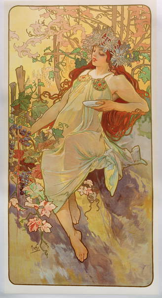 The Seasons- Autumn, 1896 (colour litho), Mucha, Alphonse Marie (1860-1939)  Private Collection  Bridgeman Images