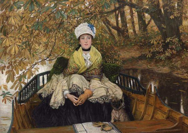Waiting (oil on canvas) , Tissot, James Jacques Joseph (1836-1902)  Private Collection  Photo © Christies Images  Bridgeman Images