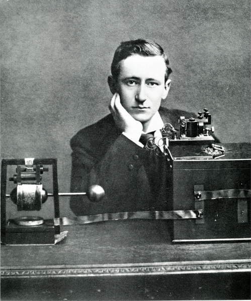 Guglielmo Marconi in front of his machine. sd. early 20th century., Unknown photographer, (20th century)  Private Collection  © Giancarlo Costa  Bridgeman Images  4750527