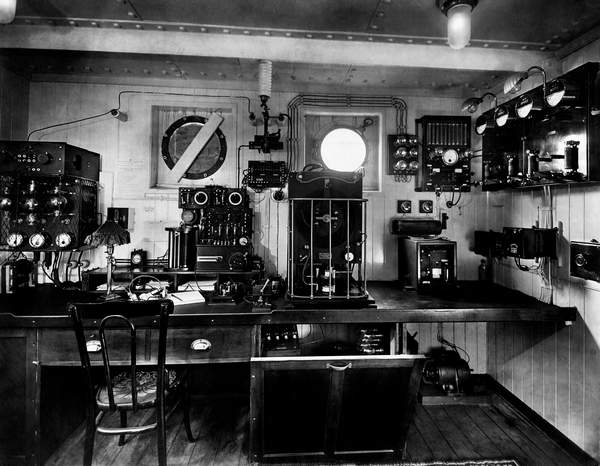 vintage photo of a Marconi Radiotelegraphic Room of a Transatlantic, 1930 (bw photo)  Touring Club ItalianoMarkaUIG  Bridgeman Images 6191005