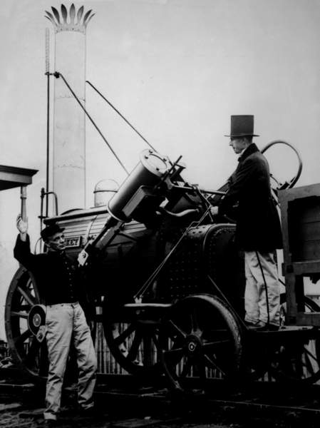 Replica of Stephensons Rocket, 1929 (bw photo), English Photographer, (20th century)  Private Collection  Bridgeman Images  275647