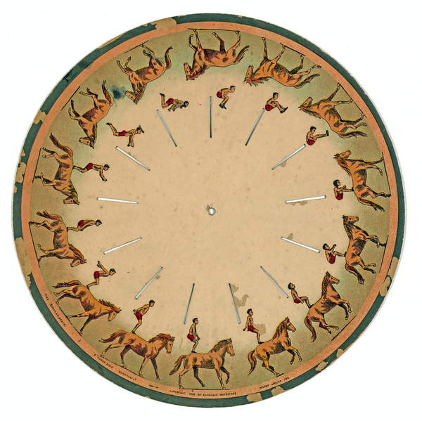 zoopraxiscope disc showing an acrobat performing a horse back somersault , 1893 (litho), Muybridge, Eadweard (1830-1904)  Private Collection  Prismatic Pictures  Bridgeman Images  3121790