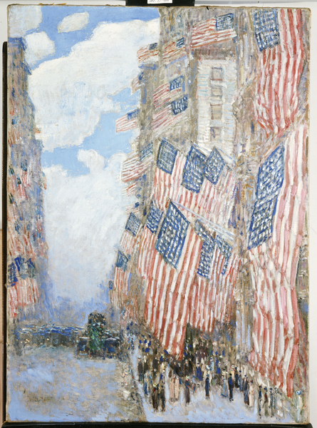 Photo of the painting titled The Fourth of July, 1916 (oil on canvas) Photo © Christie's Images / Bridgeman Images