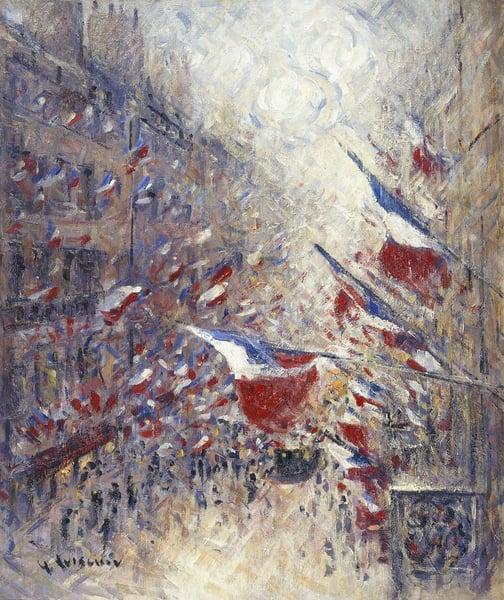 image of The Fourteenth of July in Paris; Le Quatorze Juillet a Paris. Gustave Loiseau (1865-1935). Oil on canvas. Photo © Christie's Images / Bridgeman Images
