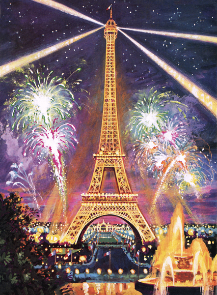 Eiffel Tower with fireworks Harry Green (b.1920) / British © Look and Learn / Bridgeman Images