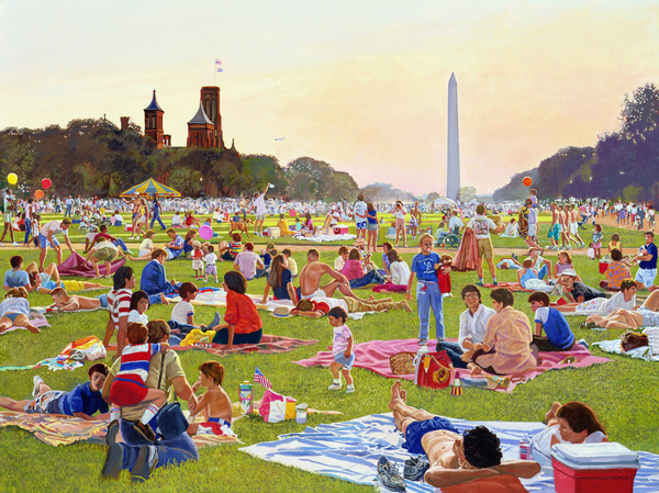 The Mall on the fourth: Waiting for the Fireworks to Start, 1998 (oil on canvas) Frank Wright, (b.1932) / American © Bridgeman Images