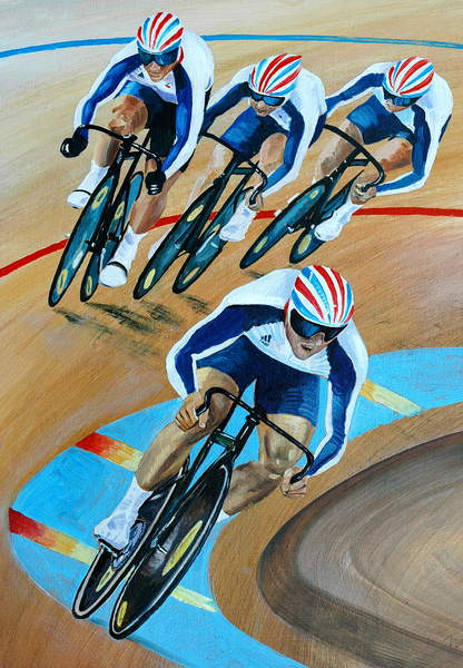 Olympic Cyclists, 2010 (oil on panel), Alex Williams (b.1942) / Private Collection / Bridgeman Images