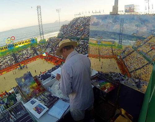 Artist Peter Spens at work on the press stand of the Olympic beach volleyball stadium, Copacabana Beach, Rio, 2016 (photo) / Private Collection / © Peter Spens / Bridgeman Images