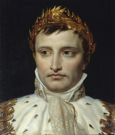 Portrait of the emperor Napoleon I Bonaparte (1769-1821) - Painting by Jacques Louis David (1748-1925), oil on canvas, 19th century / Fondation Dosne-Thiers (Musee Frederic Masson) Paris, France / Photo © Photo Josse / Bridgeman Images