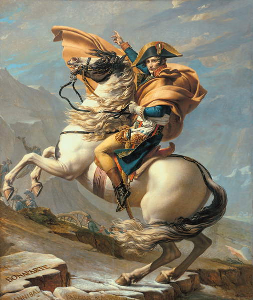 Napoleon (1769-1821) Crossing the Alps at the St Bernard Pass, 20th May 1800, c.1800-01 (oil on canvas), David, Jacques Louis (1748-1825)  Musee National du Chateau de Malmaison, Rueil-Malmaison, France  Bridgeman Images