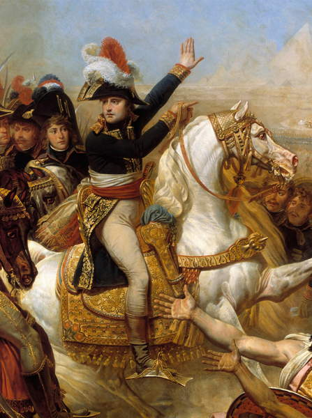 "Napoleon Bonaparte haranguing the army before the Battle of the Pyramids, July 21, 1798"".  Gros, Baron Antoine Jean (1771-1835)  Château de Versailles, France  Photo © Photo Josse  Bridgeman Images"