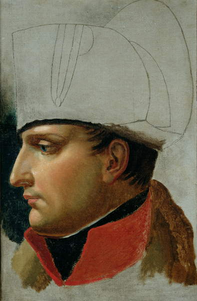 Unfinished Portrait of Napoleon I (1769-1821) formerly attributed to Jacques Louis David (1748-1825) 1808 (oil on canvas), Girodet de Roucy-Trioson, Anne Louis (1767-1824) / Musee Bonnat, Bayonne, France / Bridgeman Images