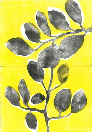 a screenprint of some leaves in monochrome with a yellow background