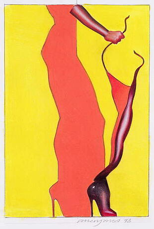 a stylised painting of a woman's leg wearing a high heel on a yellow background