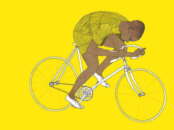 an artwork of a black man cycling wearing a yellow jersey on a yellow background