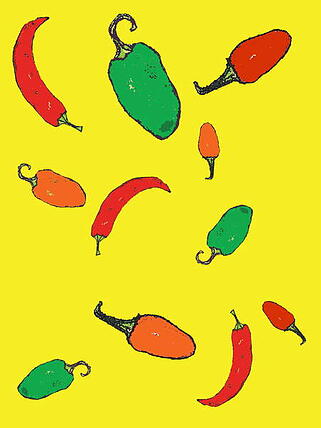 artwork of differently coloured vegetables on a yellow background