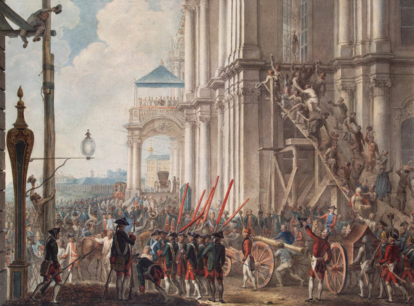 Catherine II on the Balcony of the Winter Palace, 28th June, 1762 (colour litho), after I.K Kaestner (18th Century) / Bridgeman Images