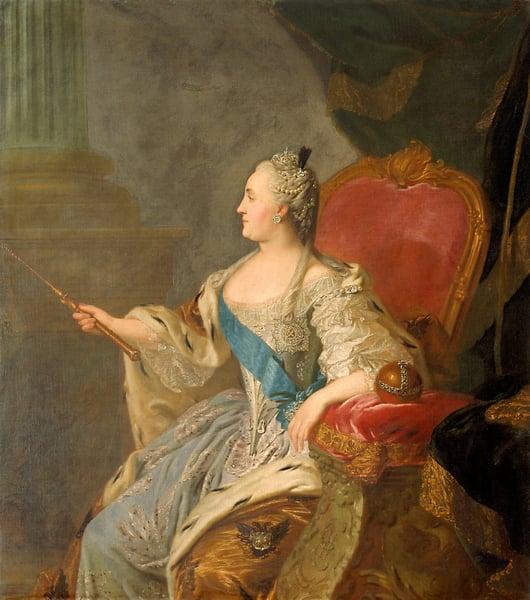 Catherine the Great, 1763 (oil on canvas) / Fedor Stepanovich Rokotov (c.1735-1808) / Bridgeman Images