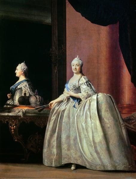Empress Catherine II before the mirror, 1779 (oil on canvas) / Vigilius Erichsen (1722-82) / Bridgeman Images