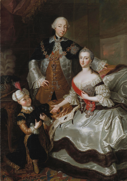 Peter III and Catherine II of Russia with a page c.1756 (oil on canvas), Anna Rosina Lisiewska (1716-83) / Bridgeman Images