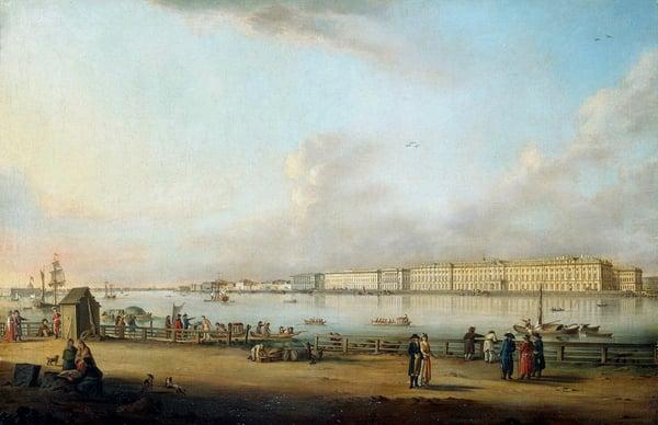 View of the Winter Palace from Vasilyevsky Island, 1796 (oil on canvas), Johann Georg Mayr (1760-1816) / Bridgeman Images