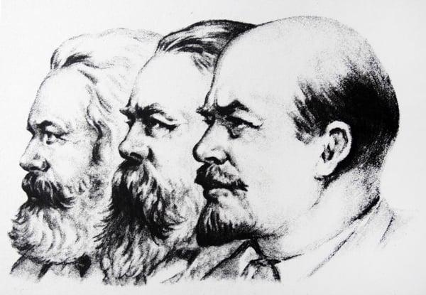 Left to Right Karl Marx Friedrich Engels Vladimir Lenin / Universal History Archive/UIG / Bridgeman Images