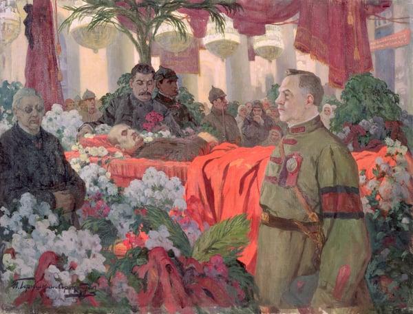 Lenin's (1870-1924) funeral ceremony, 1924 (oil on canvas) / Ivan Silych Goriuschkin-Sorokopudov (1873-1954) / Bridgeman Images
