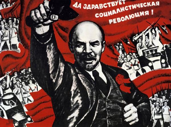 Russian Revolution, October 1917. Vladimir Ilyich Lenin (Ulyanov - 1870-1924) Russian revolutionary. Undated Communist poster / Universal History Archive/UIG / Bridgeman Images