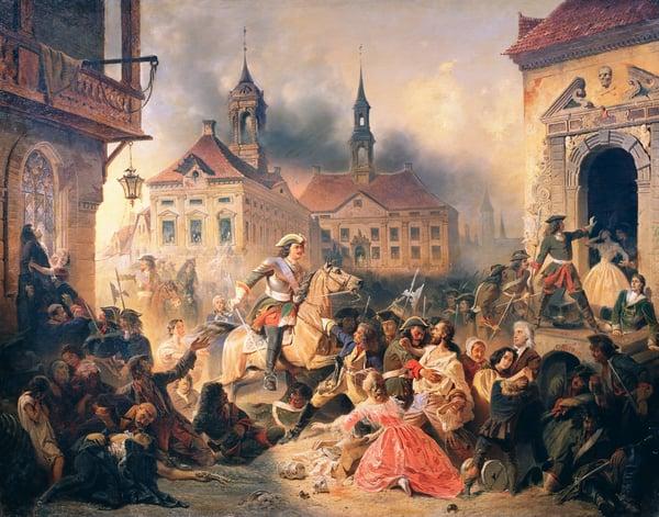 Peter the Great conquers Narva in 1704, 1859 (oil on canvas) / Alexander Ivanovich Sauerweid (1783-1844) / Bridgeman Images