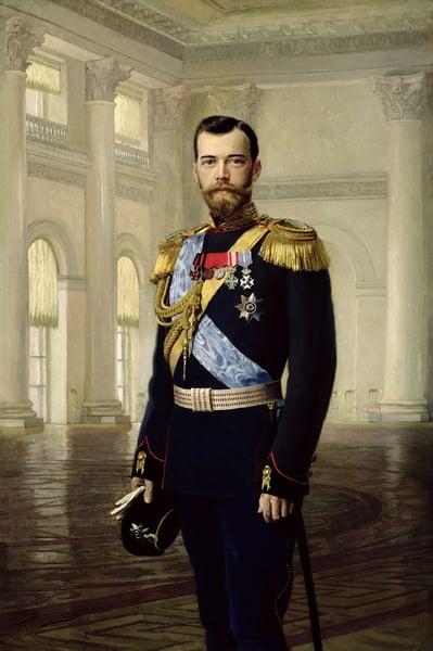 Portrait of Emperor Nicholas II, 1900 (oil on canvas) / Baron Ernest Friedrich von Liphart (1847-1932/34) / Bridgeman Images