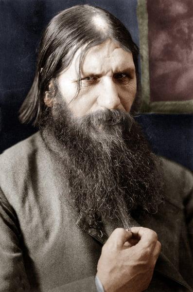 Rasputin (1871-1916) russian adventurer healer of czarevitch , protege of the czarina, here in 1908, colourized document / PVDE / Bridgeman Images