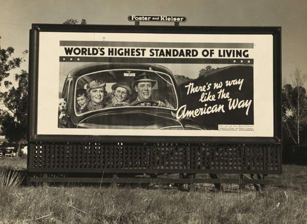 Billboard advertising on U.S. Highway 99 in California, 1937 (bw photo), Lange, Dorothea (1895-1965)  Private Collection  Bridgeman Images