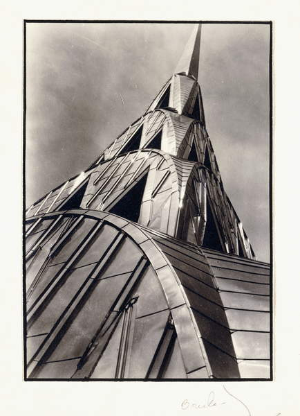 Chrysler Building Spire, 1930 (gelatin silver print, on folded announcement card), Bourke-White, Margaret (1904-71)  Private Collection  Photo © Christies Images  Bridgeman Images