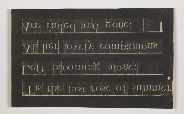 Copy of a Typeset poem by Thomas Moore, %22Tis the last rose of summer%22, 1843 (paper negative-contact), Talbot, Constance (1811-80)  British Library, London, UK  © British Library Board. All Rights Reserved  Bridgeman Images