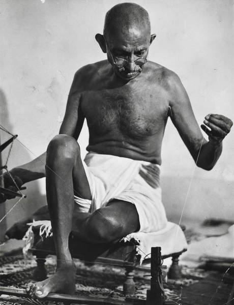 Gandhi using his spinning wheel at home, 1946 (gelatin silver print), Bourke-White, Margaret (1904-71)  Museum of Fine Arts, Houston, Texas, USA  © Museum of Fine Arts, Houston  / Bridgeman Images