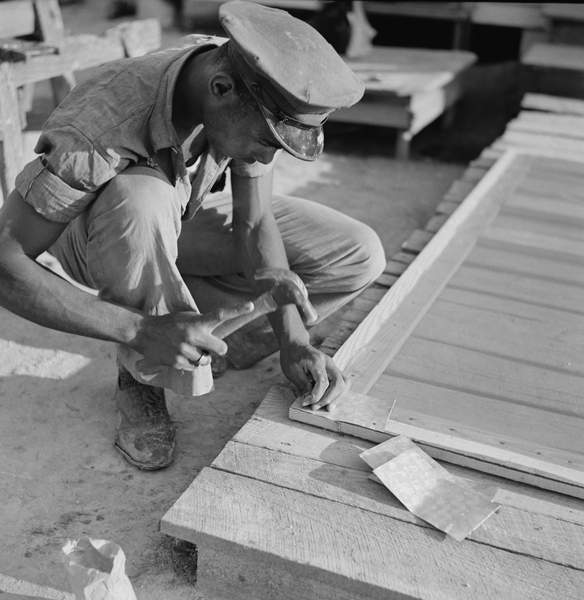 Man Building Home Screen Door, Ridge, Maryland, USA, 1941 (bw photo), Wolcott, Marion Post (1910-90)  Circa Images  Bridgeman Images