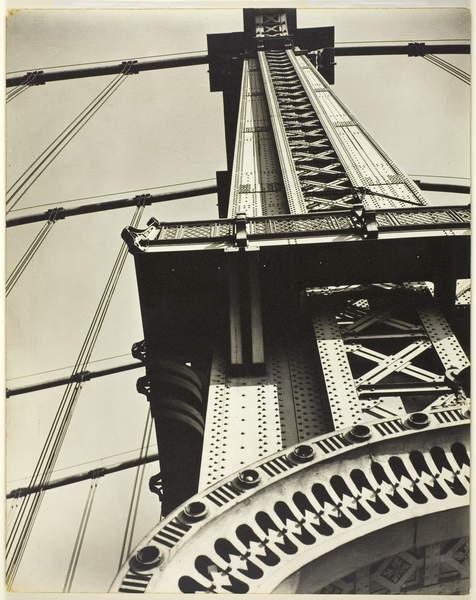 Manhattan Bridge Looking Up, 1936 (gelatin silver print), Abbott, Berenice (1898-1991) © Art Institute of Chicago  Works Progress Administration Allocation  Bridgeman Images