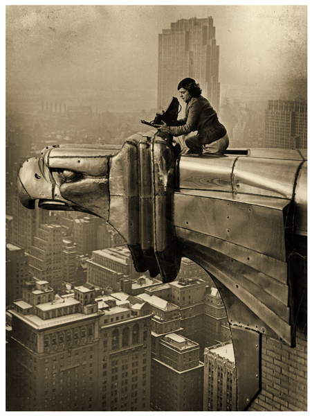 Margaret Bourke-White atop the Chrysler Building,New York,c.1932 (photo), Graubner, Oscar (1897-1977)  Private Collection  Prismatic Pictures  Bridgeman Images