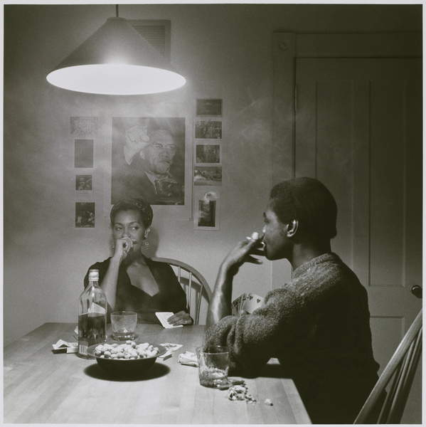 Untitled (Man Smoking) from the Kitchen Table series, 1990 (gelatin silver print), Weems, Carrie Mae (b.1953)  Brooklyn Museum of Art, New York, USA  © Brooklyn Museum of Art  Caroline A.L. Pratt Fund  Bridgeman Images